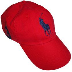 cf4d75db120 Polo By Ralph Lauren Men s Hat Ball Cap Red With Big Navy Pony ...