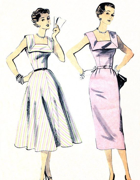 1950s Dress Pattern Advance 6643 Day or Evening by paneenjerez ...