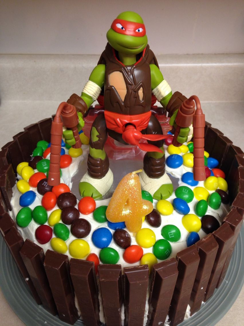 Ninja turtle cake! Made with 2 round cakes put together ...