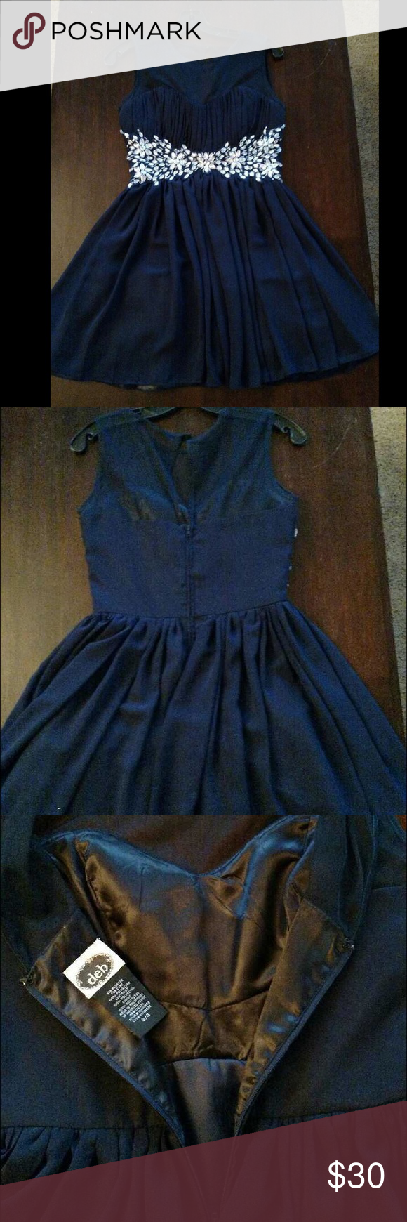 Short blue formal dress only worn once itus a size and is about