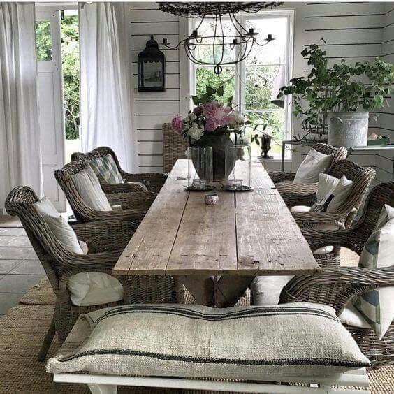 Farmhouse style, rustic elements, wood furniture, light interior
