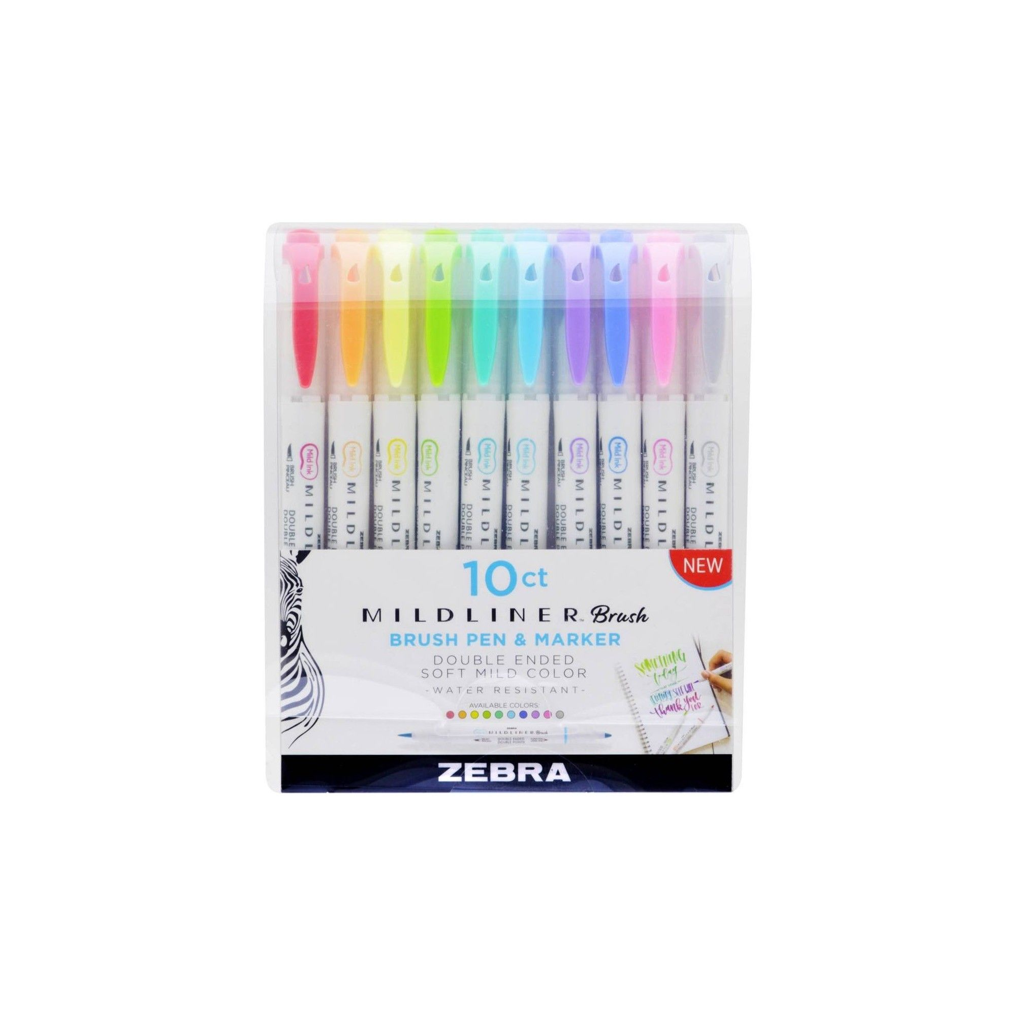 10ct Mildliner Double Ended Brush Pen Zebra Brush Pen