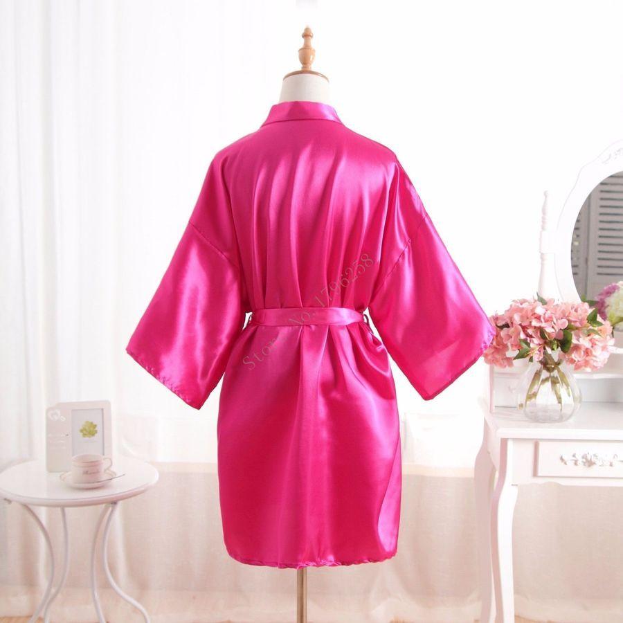 0a01a9d299 Hot Solid Women robe Silk Satin Robes Wedding Bridesmaid Bride Gown kimono  robe robe
