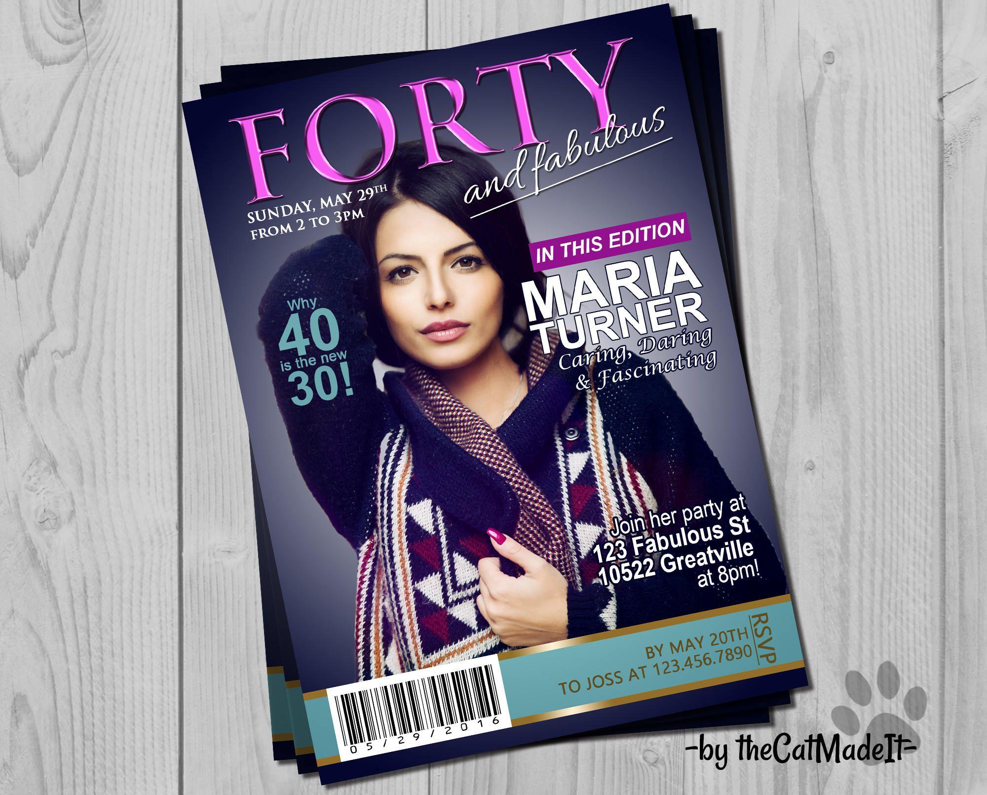 Magazine Cover Invitation - Fashion and Glamour - Customizable Age ...