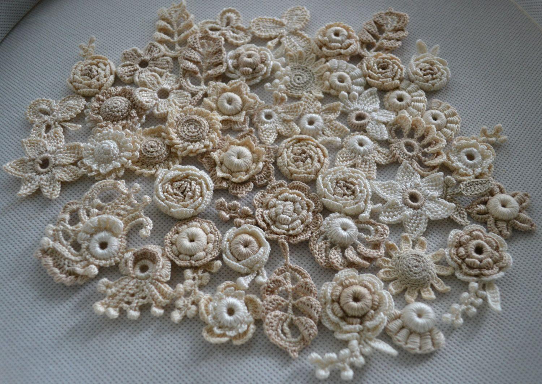 Crocheted appliqués Boho-ivory by AlisaSonya. Irish crochet ...