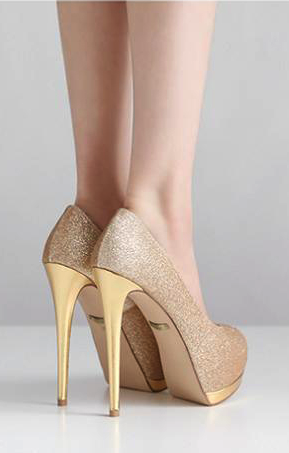 b035c29715e Elegant Peep Toe Stiletto High Heel Gold Pumps High Heel