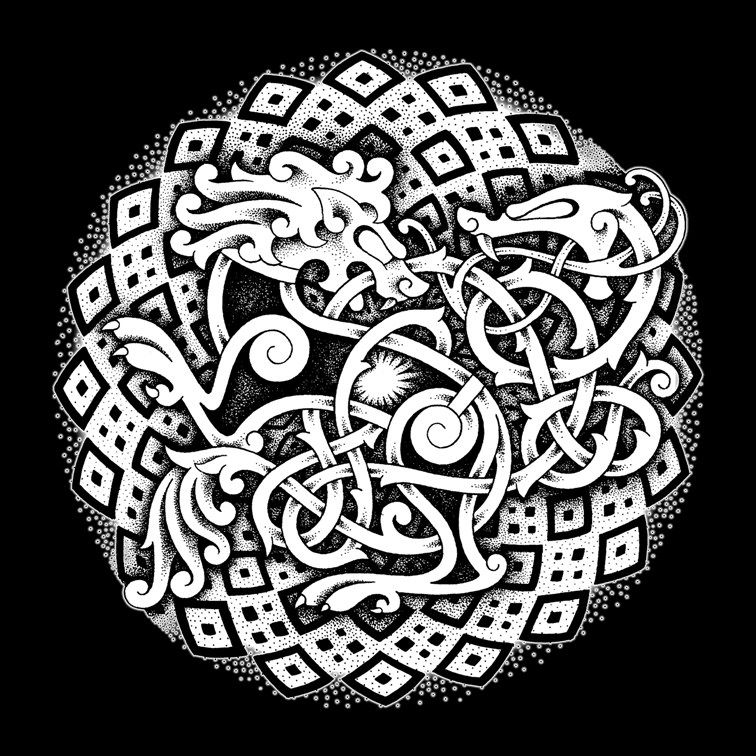 Norse Knotwork Serpent Lion And Serpent Design