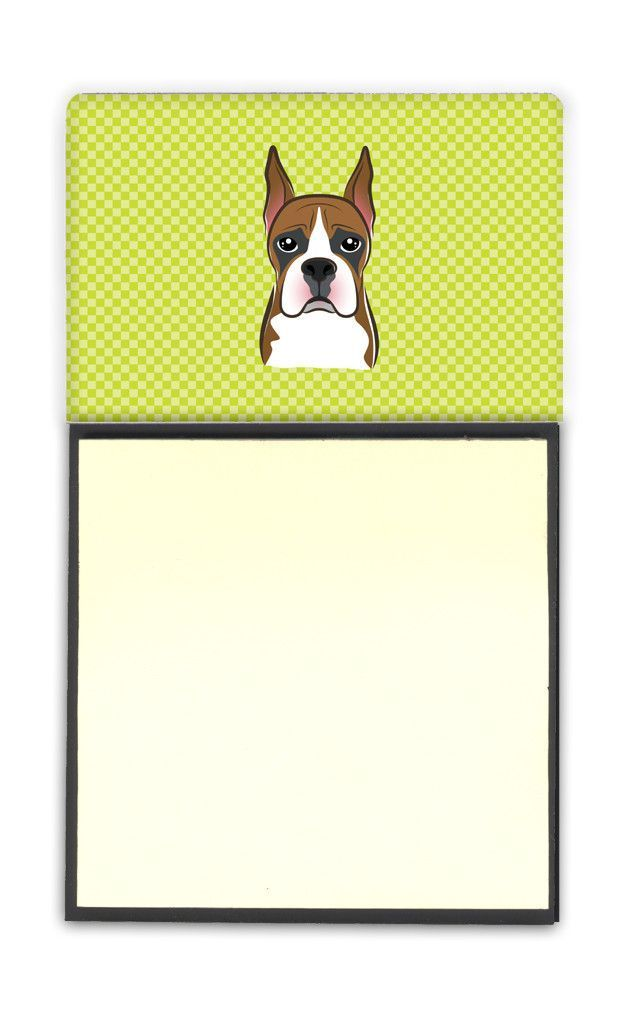 Checkerboard Lime Green Boxer Refiillable Sticky Note Holder or Postit Note Dispenser BB1285SN