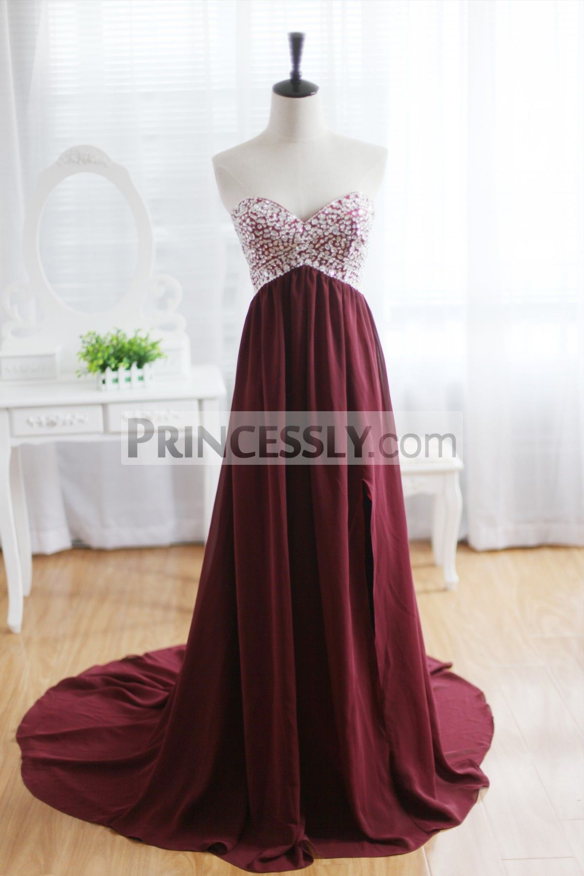 Wine red burgundy chiffon bridesmaid dress prom dress strapless