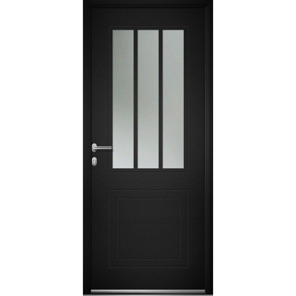 Porte D Entree Alu Atelier Essentiel H 215 X L 90 Cm 1 2 Vitree Gris Anthr Pd Porte Entree Alu Porte Entree Aluminium Porte Entree Vitree