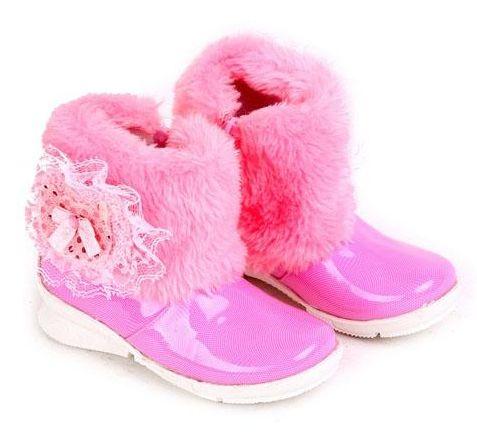 Sepatu Boot Anak Perempuan Pink Hias Bulu Bulu Pita Sepatu Boot