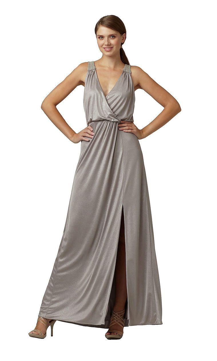 Elegant v neck front side slit ruched fashion flattering silver prom