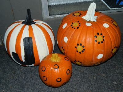 The Best of Halloween - paint your pumpkins instead of carving them!  So much easier, they are adorable and last all month!