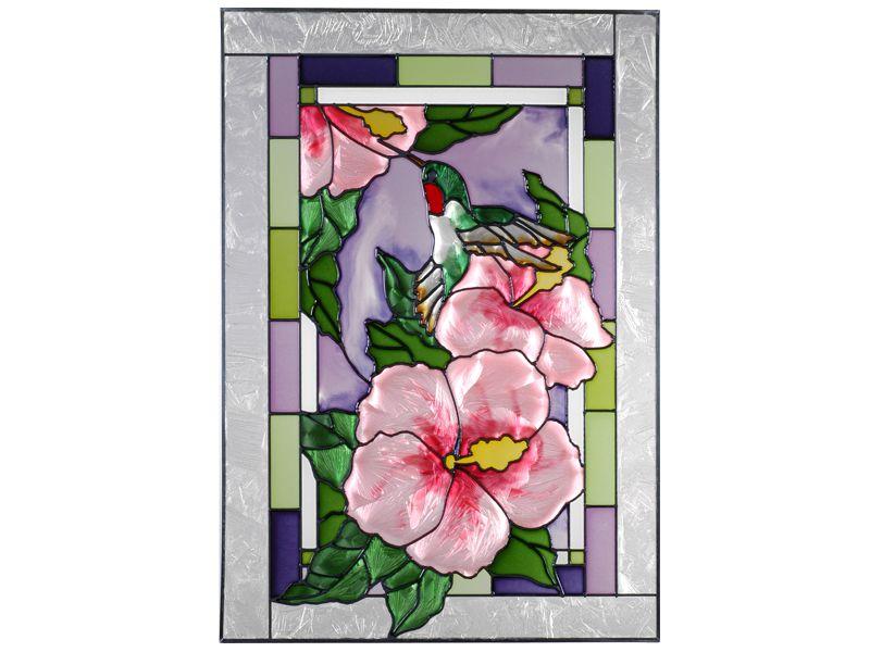 Hummingbird Hibiscus Stained Glass Panel 14 X 205 Ezz Glass