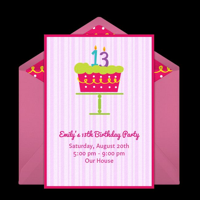 Free 13th birthday cake invitations 13th birthday cakes 13th free 13th birthday cake invitations filmwisefo