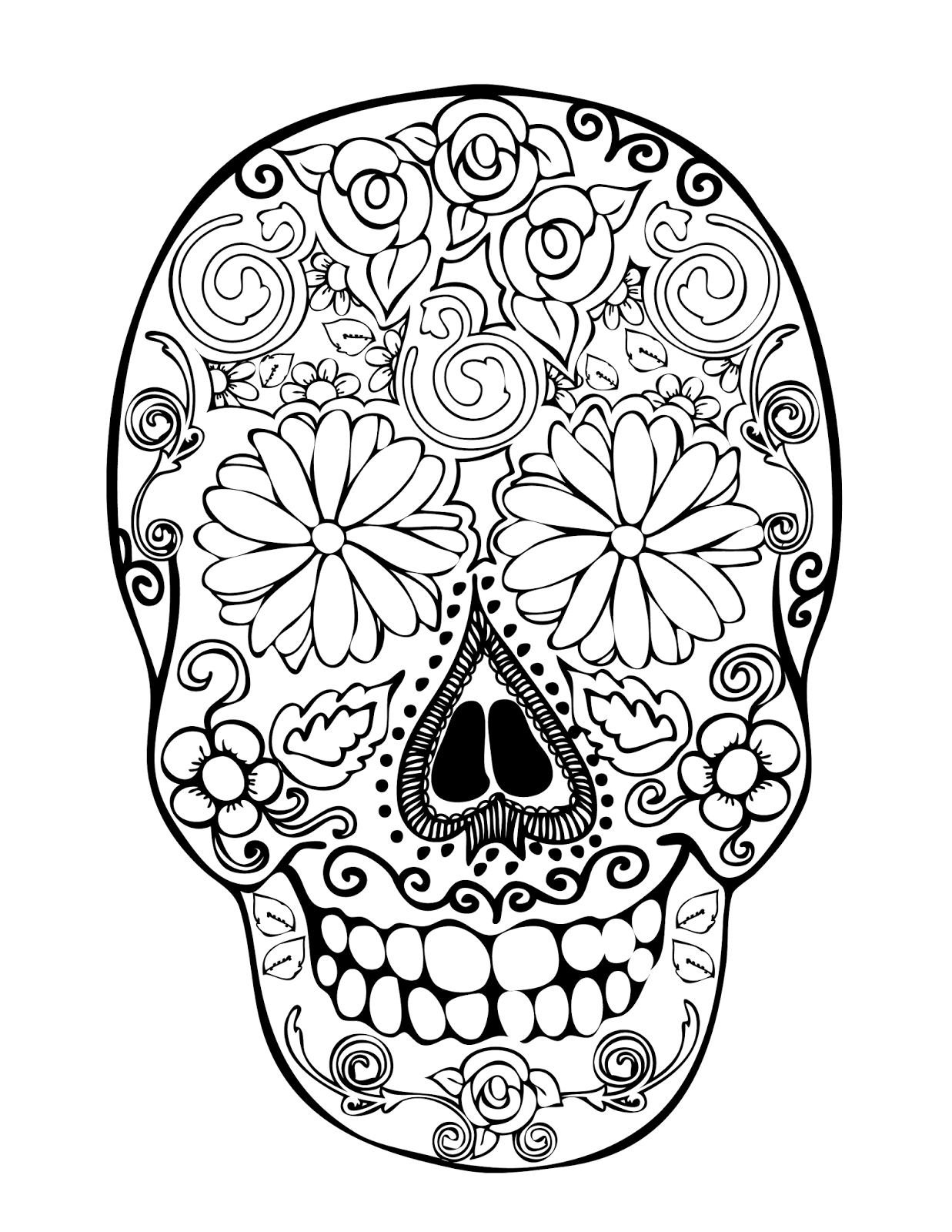 sugar skull coloring pages | printable coloring pages | skull ... - Coloring Pages Roses Skulls