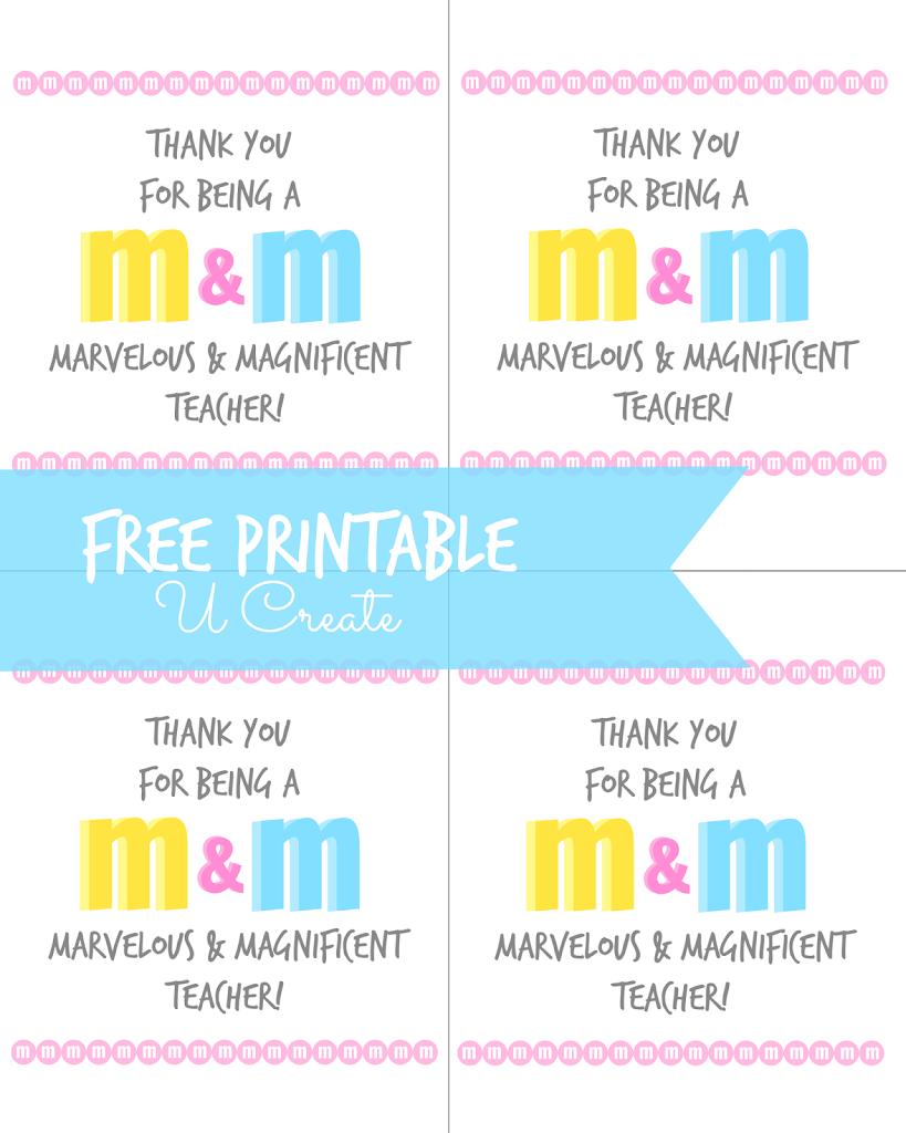 M & M Teacher Appreciation Printable | Crafts | Pinterest | Teacher ...