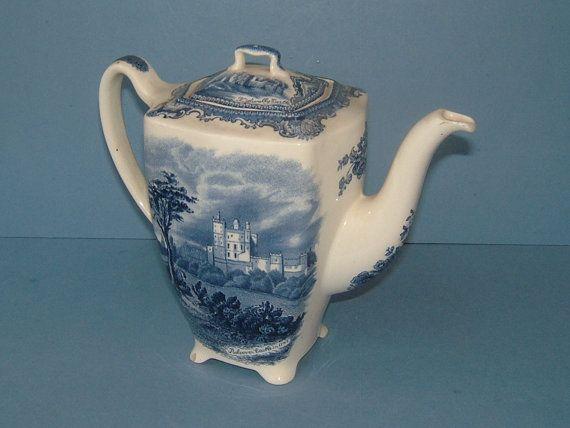 1950s Old Britain Castles Flow Blue Teapot Blue And
