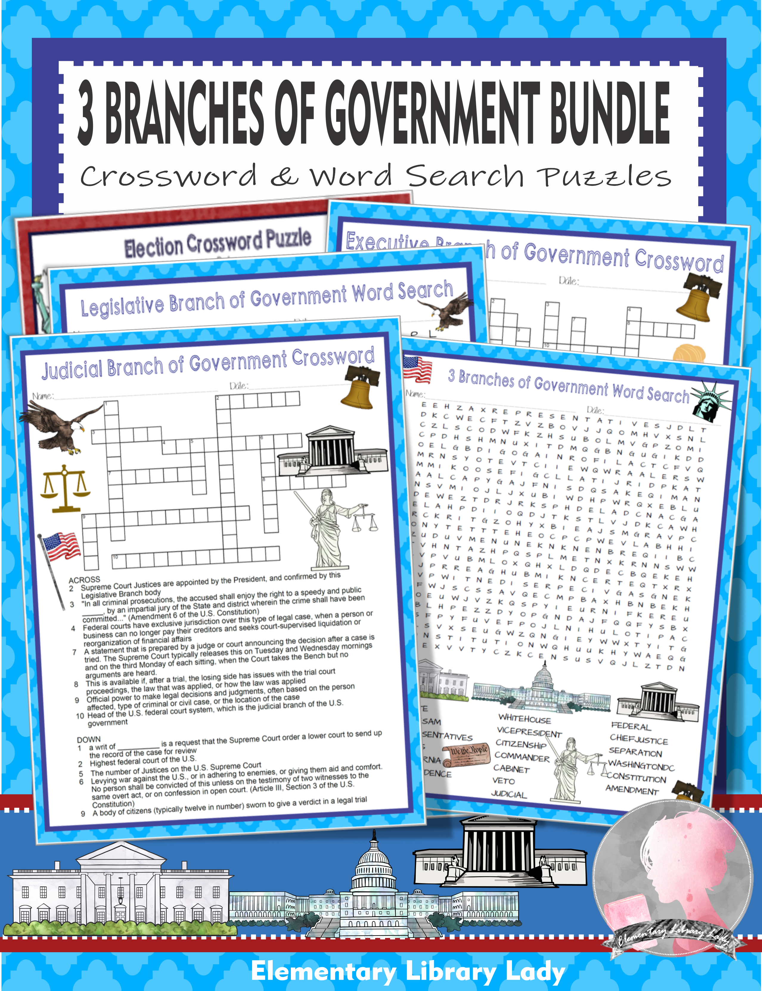 Three Branches Of Government Activities Crossword Puzzles