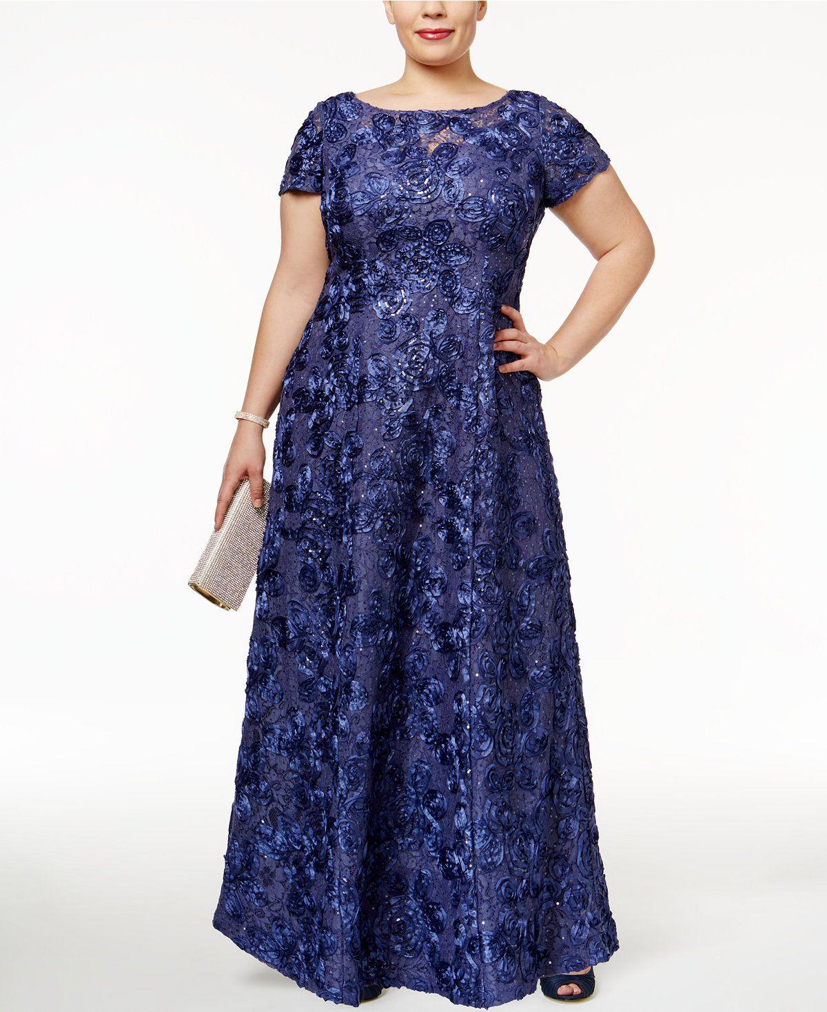 5d231904165b This A-line lace rosette pattern is flattering and elegant! | Macy's - Alex  Evenings Plus Size Rosette Lace A-Line Gown