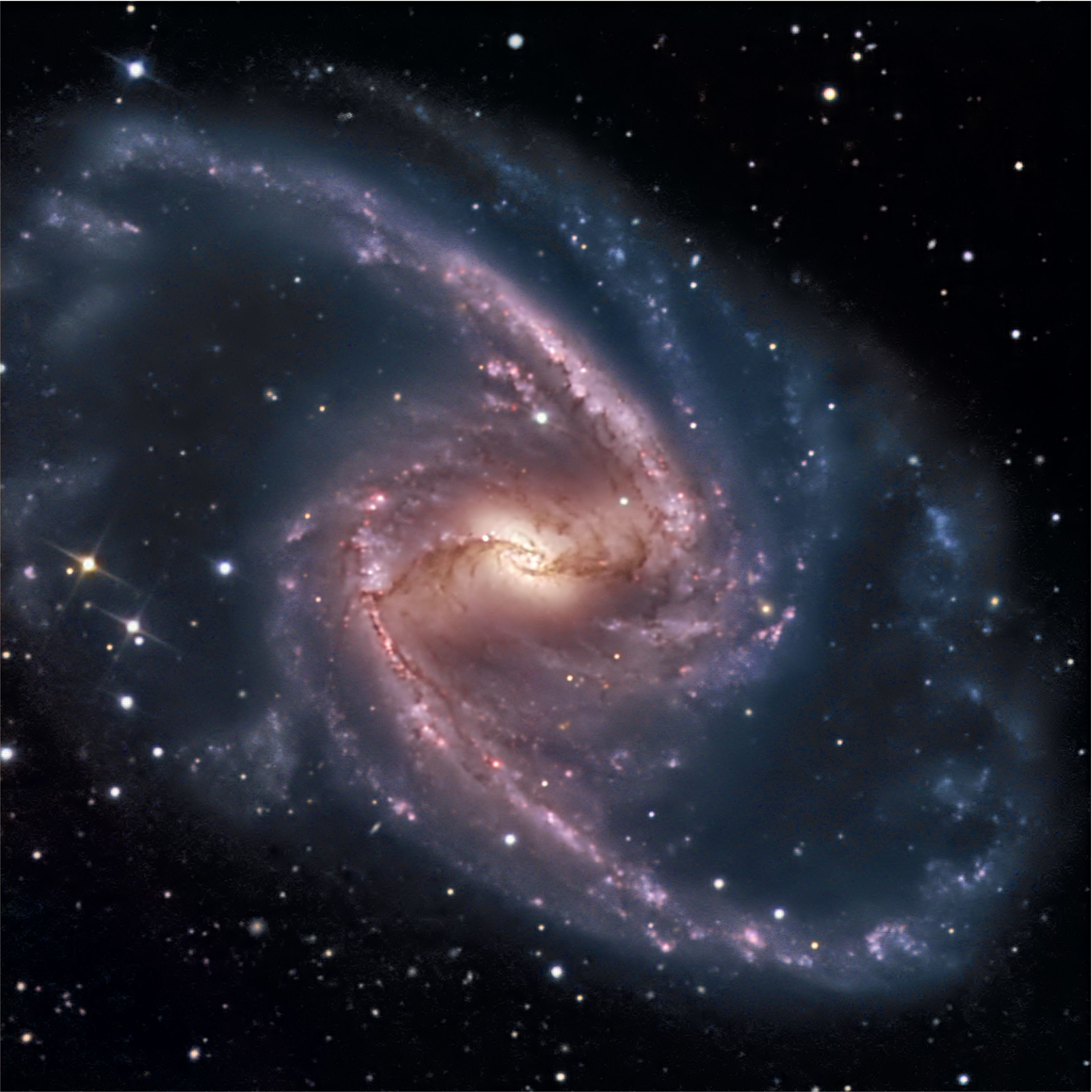 Spiral galaxies of the barred spiral galaxy NGC 1365 in