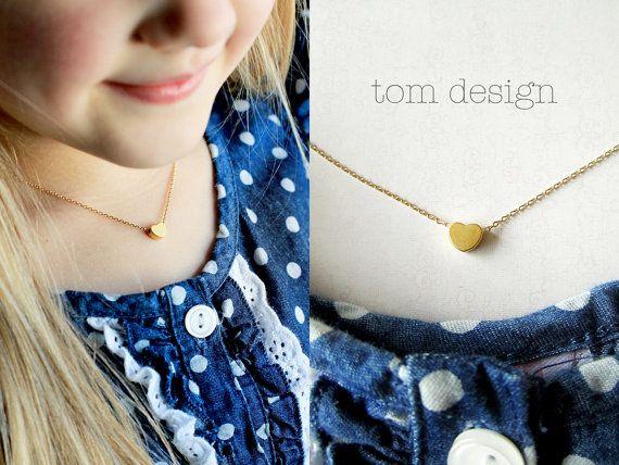 Children's Gold Heart Necklace - Flower Girl Necklace Gold Heart Childrens Kids Child Custom Flower Girl Gift Flower Girl Jewelry