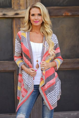 Don't Count Me Out Cardigan - Coral   Closet Candy Boutique