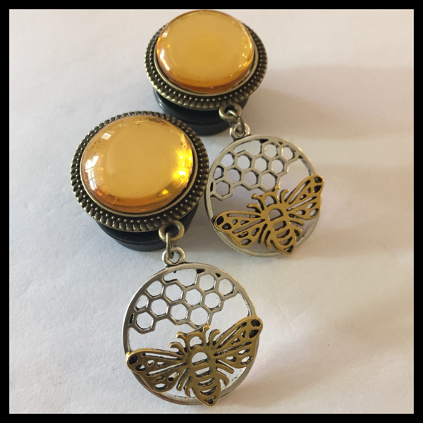 Yellow-black-Teardrop handmade plugstunnel