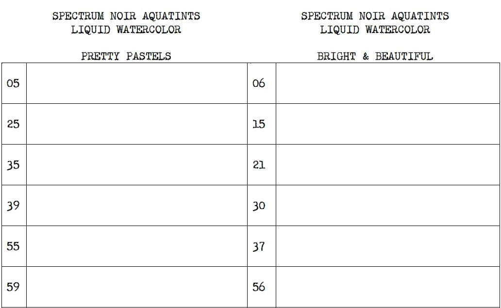 SPECTRUM NOIR AQUATINTS LIQUID WATERCOLOR CHART
