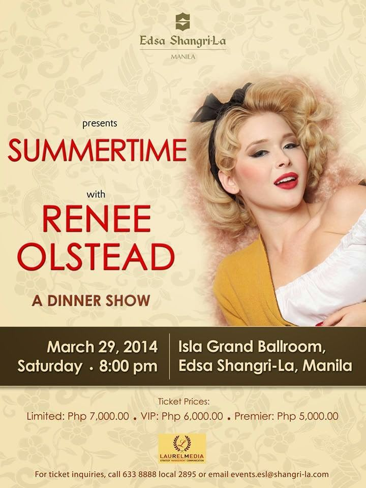 Renee Olstead Manila Dinner Show Renee Olstead Renee Shangri La Manila