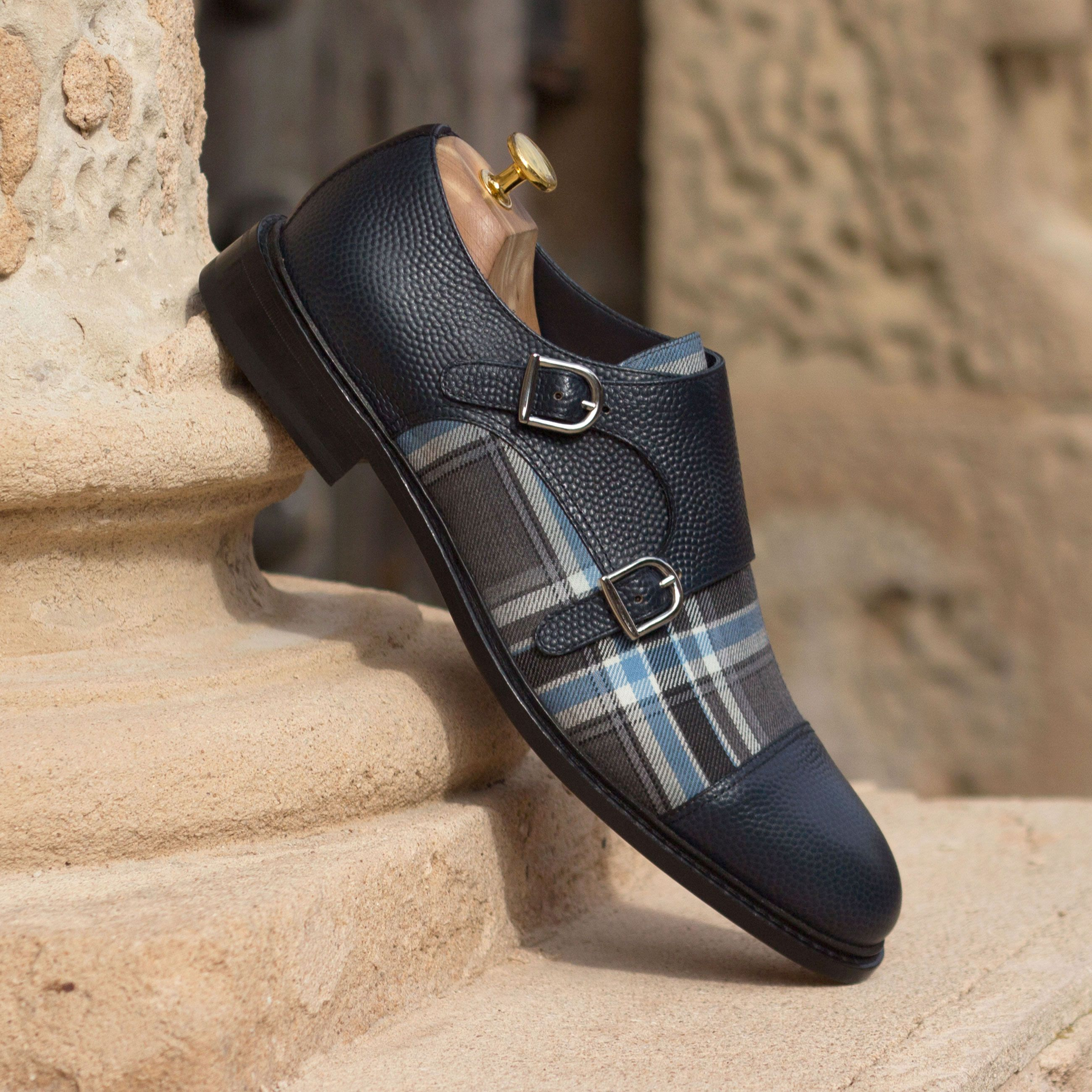 5b13260e459dc The Double Monk in Navy Blue Pebble Grain Leather with Plaid and ...
