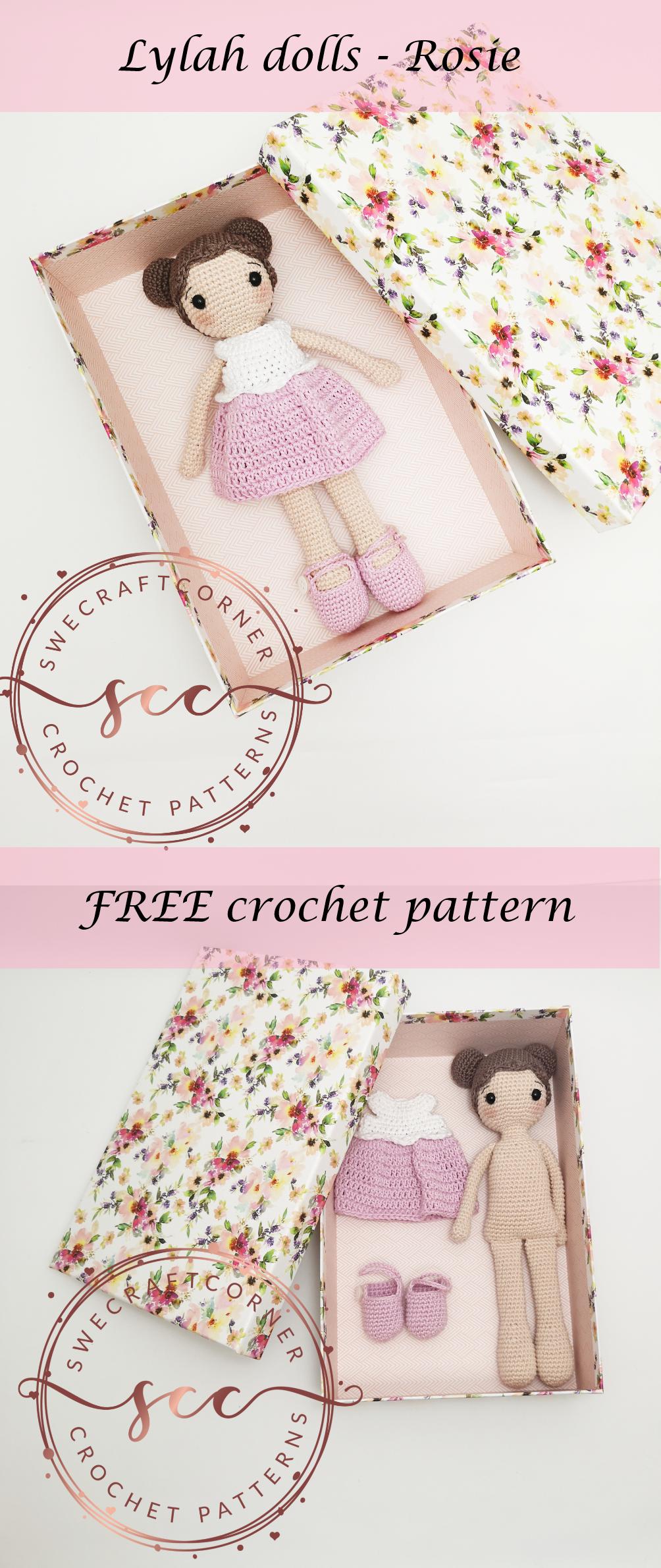 Lylah doll – Rosie FREE pattern – Swecraftcorner Free crochet pattern Crochet doll pattern #crochetdolls