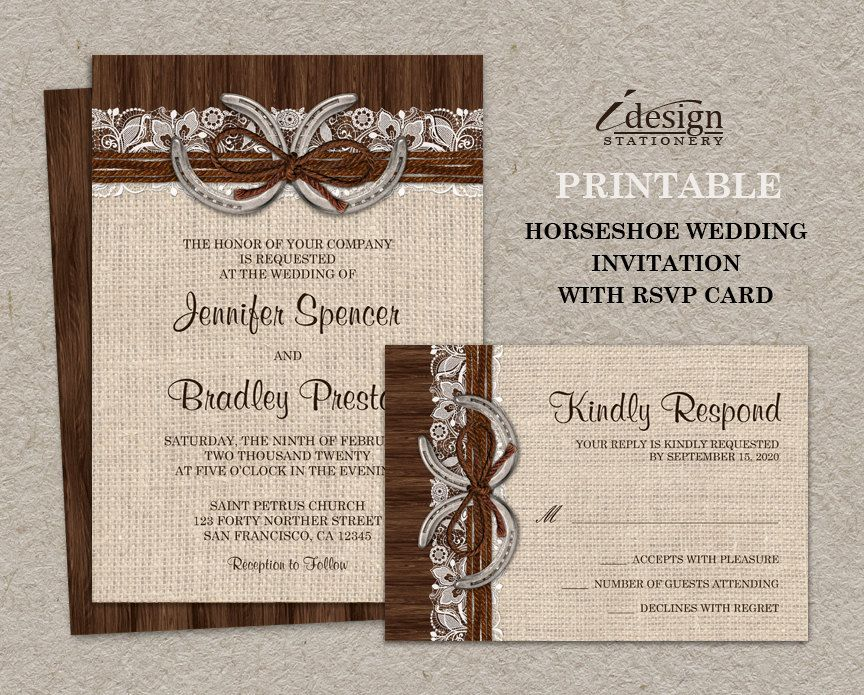 Diy Printable Rustic Country Western Horseshoe Wedding Invitation Kit With A Burlap And Lace Design Horseshoes Twine On Brown Barn Wood By