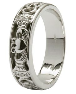 irish wedding ring with a claddagh motif - Mens Claddagh Wedding Ring