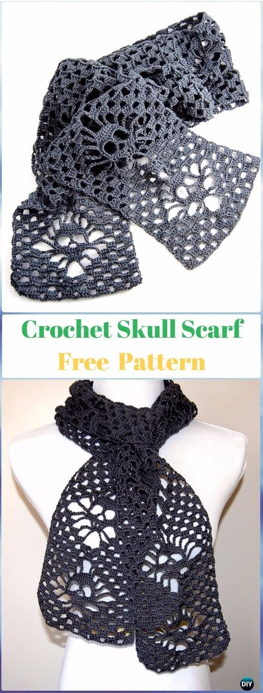 Narrow Crochet Skull Scarf Free Pattern - Crochet Skull Ideas Free ...