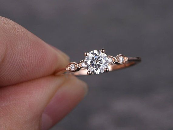 Photo of 5mm Round Cut Moissanite Rose Gold Engagement Ring, Diamond Wedding Band, #d …