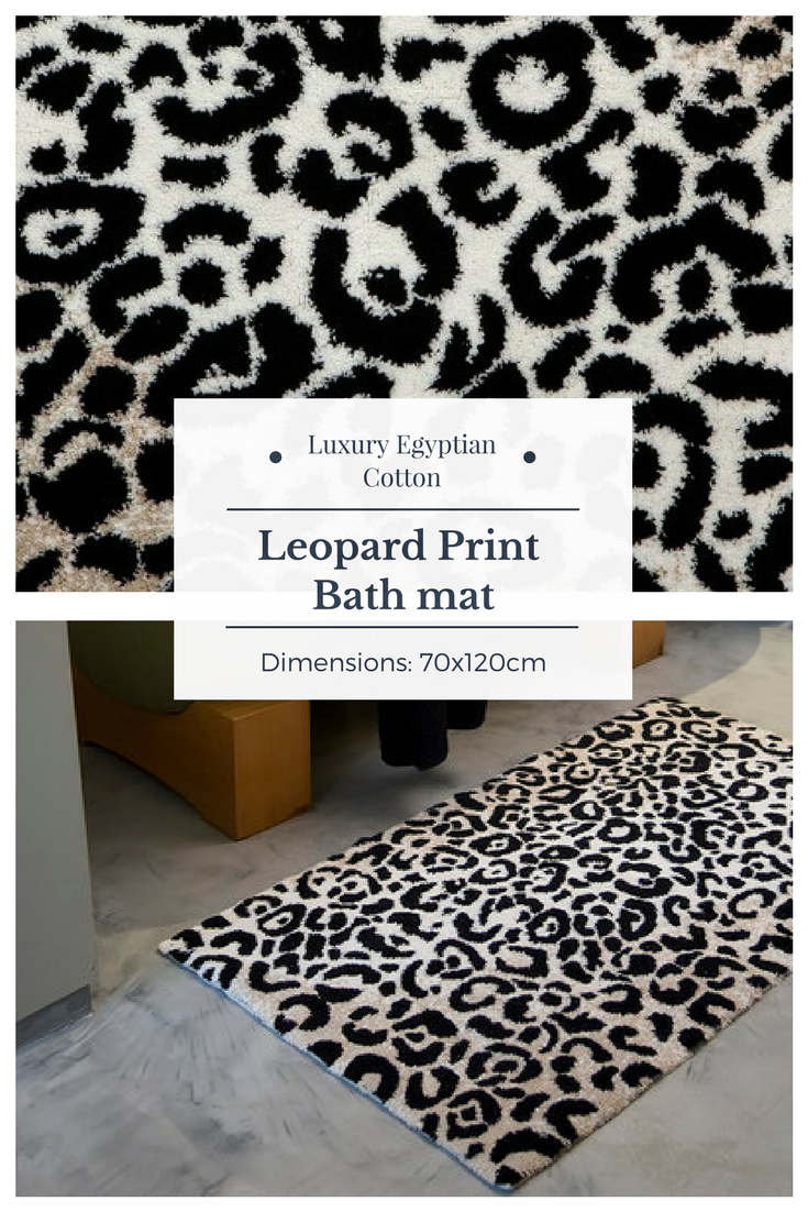 Stylish Black And White Leopard Print Bath Mat Rug For Any Area