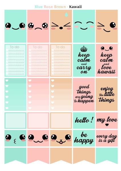 Kawaii Pink Blue Beige Printable Stickers 3 Pdf Instant