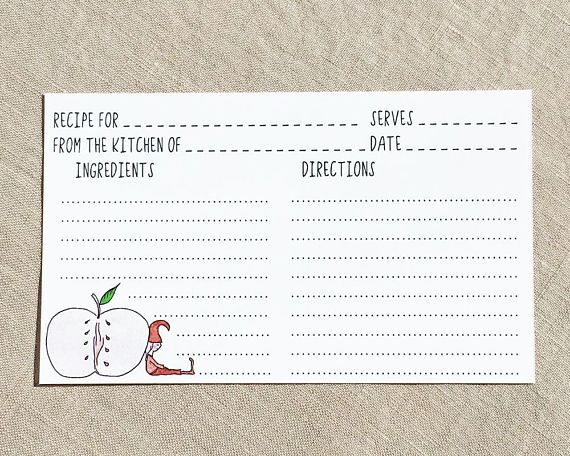 DOWNLOAD Printable Recipe Cards 3x5 Double Sided Hand Drawn - double recipe cards
