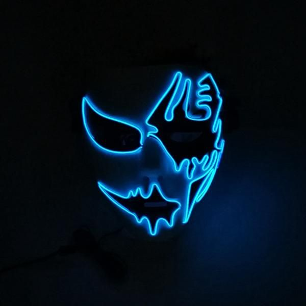 Boys Costume Accessories Halloween Mask Led Masks Glow Scary Mask Light Up Cosplay Mask Glow In Dark For Festival Music Party Costume Christmas Fancy Colours