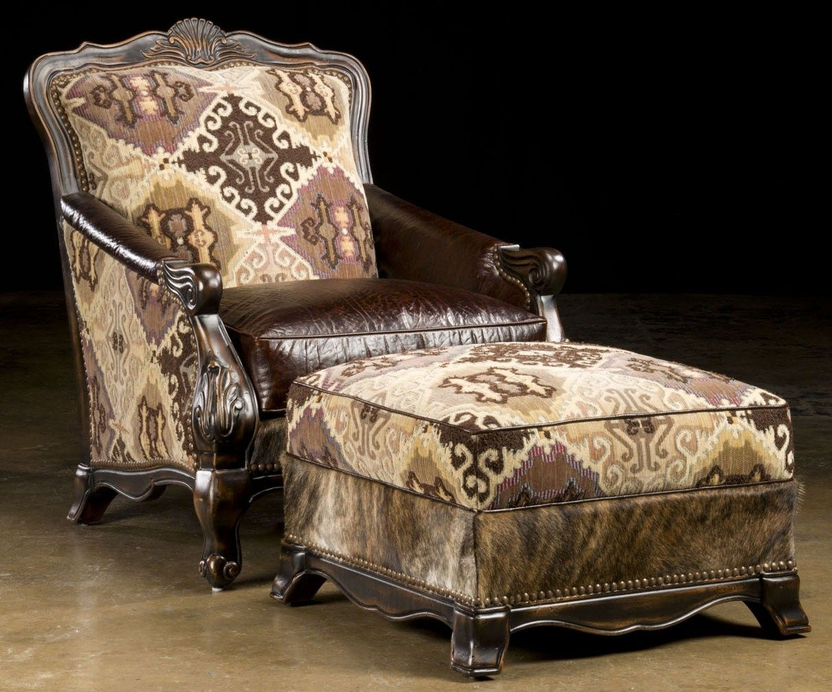 South Western Style Luxury Furniture Chair And Ottoman Hair Hide
