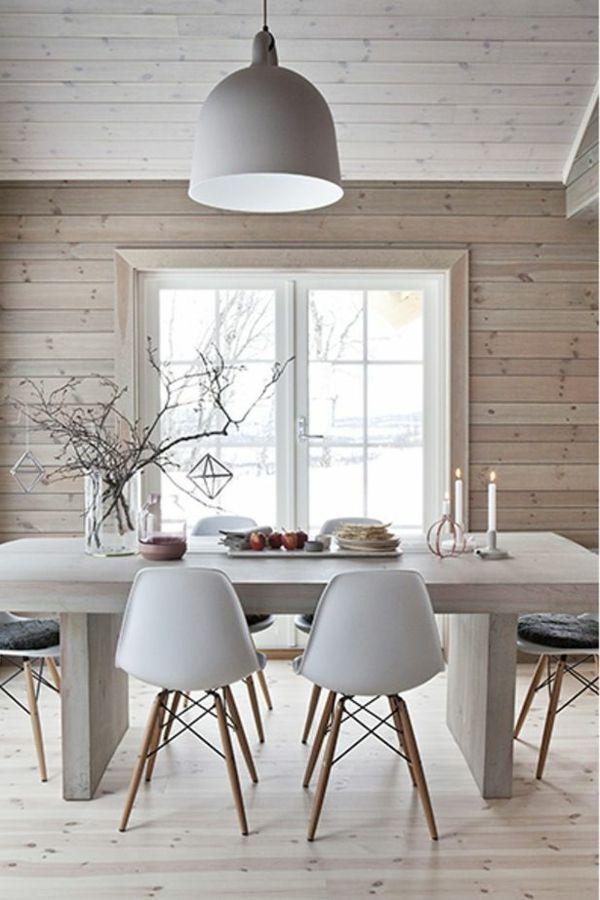 Salle à manger décoration scandinave intérieur en bois salle à ...