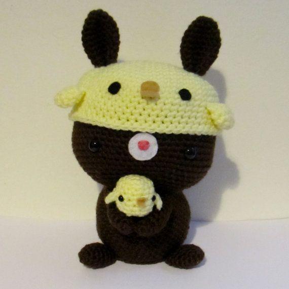 Chocolate Bunny and chickie hat amigurumi crochet pattern   Crochet ...