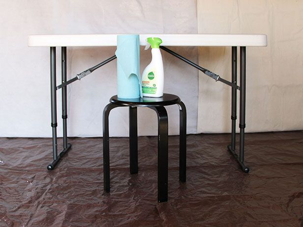 Upcycle A Plastic Folding Table Into A Chic Desk Chic Desk Folding Table Folding Table Desk