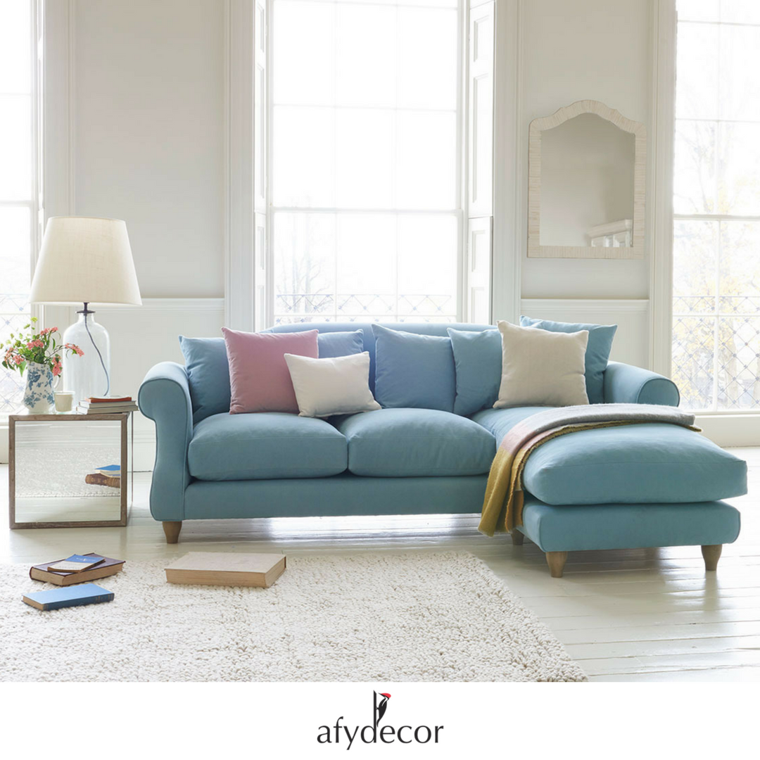 Loose Yourself On This Cosy And Beautiful Pastel Blue L Shaped Sectional Sofa Sectionalsofa Lshapesofa Chaise Sofa Living Room Chaise Sofa Living Room Sofa