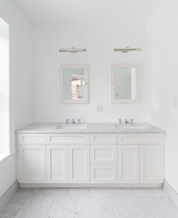 Bathroom Vanity Lights Over Medicine Cabinet beautiful bathroom with wall to wall shaker vanity featuring his