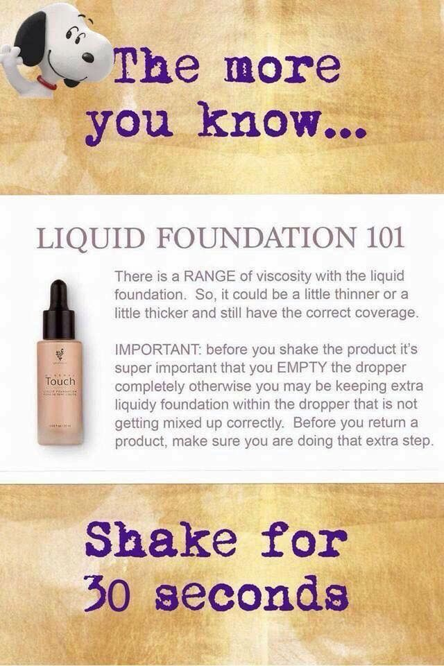 Liquid Touch Foundation. Shake for 30 seconds. #julesglamourbar #younique #liquidtouchfoundation #liquidgold #perfection