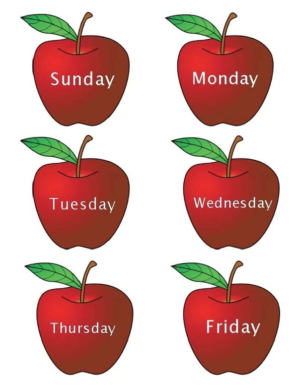 Months and Days of the Week Apples Classroom freebies
