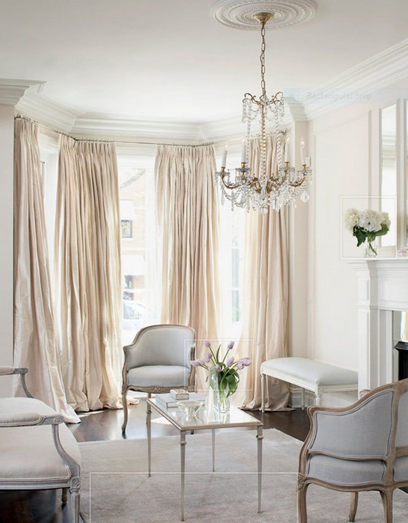 Pleated Window Curtains Faux Dupioni Silk Drapes Champagne Color French Pleat Drapes Pinch Pleats Faux Silk In 2020 Elegant Living Room Decor French Country Living Room Country Living Room