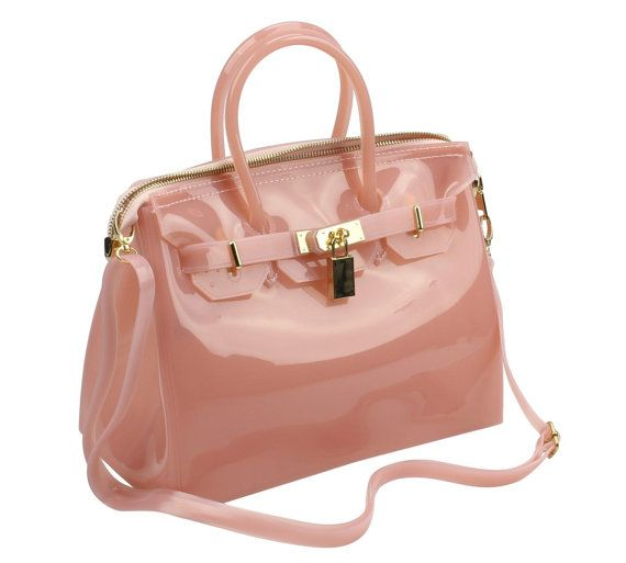 Pink Designer Handbag Jelly Tote Shoulder Purse